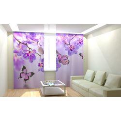 ФотоШторы Бабочки у воды с орхидеями