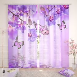 Тюль Бабочки у воды с орхидеями