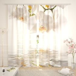 Тюль Белые орхидеи