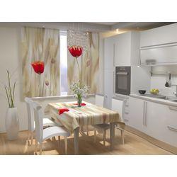 Шторы для кухни Маки ГАБАРДИН  (В:205хШ:300)