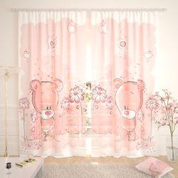 Тюль Розовые мишки