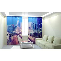 Комплект фото шторы+фото тюль Ночной Город