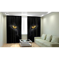 Комплект фото шторы+фото тюль Черный Кот