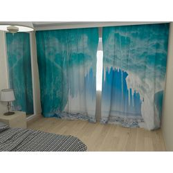 Комплект фото шторы+фото тюль Синий лед