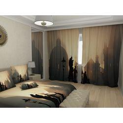 Комплект фото шторы+фото тюль Прага на закате