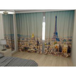 Комплект фото шторы+фото тюль Париж