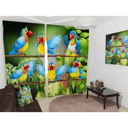 Комплект фото шторы+фото тюль Веселые попугайчики