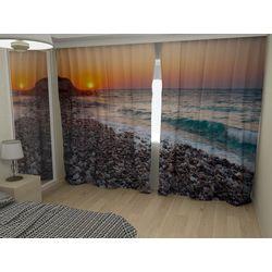 Комплект фото шторы+фото тюль Закат на море