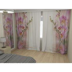 Комплект фото шторы+фото тюль Нежные орхидеи