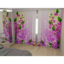Комплект фото шторы+фото тюль Цветочный мотив