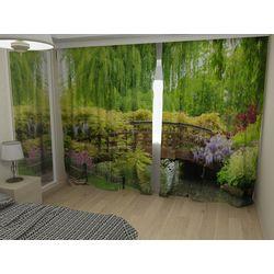 Комплект фото шторы+фото тюль Мостик в зелени