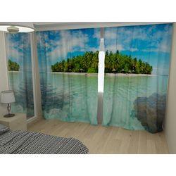 Комплект фото шторы+фото тюль Зеленый остров
