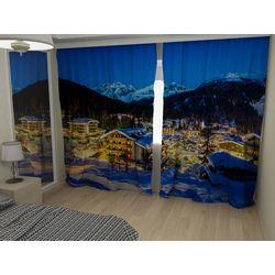 Комплект фото шторы+фото тюль Зимний город