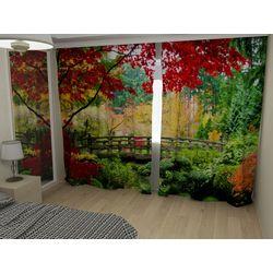 Комплект фото шторы+фото тюль Осенние деревья