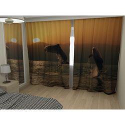 Комплект фото шторы+фото тюль Дельфины на закате