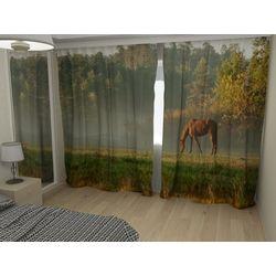 Комплект фото шторы+фото тюль Конь