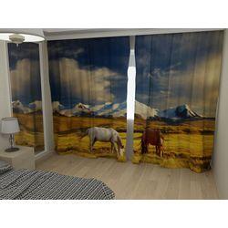 Комплект фото шторы+фото тюль Лошади в горах