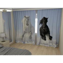 Комплект фото шторы+фото тюль Лошади