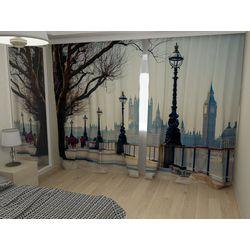 Комплект фото шторы+фото тюль Вид на Лондон
