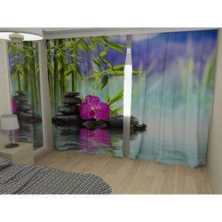 Комплект фото шторы+фото тюль Орхидея на воде