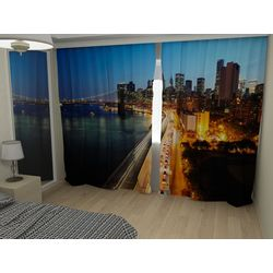 Комплект фото шторы+фото тюль Ночь в городе