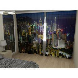 Комплект фото шторы+фото тюль Ночной Гонконг
