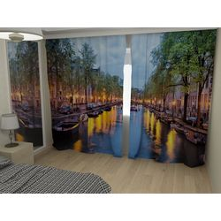 Комплект фото шторы+фото тюль Лодки на канале