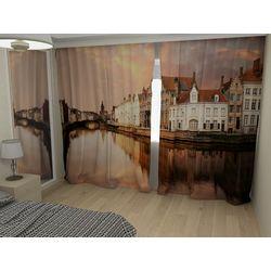 Комплект фото шторы+фото тюль Набережная Брюгге