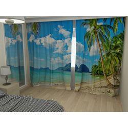 Комплект фото шторы+фото тюль Пальма на пляже