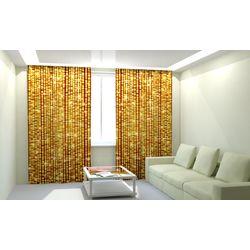 Комплект фото шторы+фото тюль Блеск Золотой