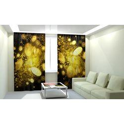 Комплект фото шторы+фото тюль Доллары Золото