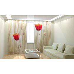 Комплект фото шторы+фото тюль Маки