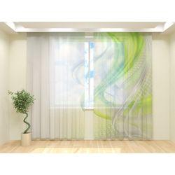Тюль Зеленая абстракция