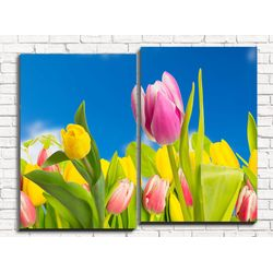 Модульная картина Желтые тюльпаны 80х60 см