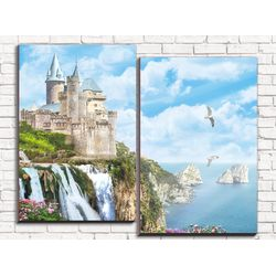 Модульная картина Замок с водопадом 80х60 см