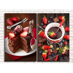 Модульная картина Клубника в шоколаде 80х60 см
