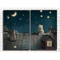 Модульная картина Кот на крыше 8х60 см