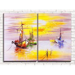 Модульная картина Разноцветные лодки 80х60 см