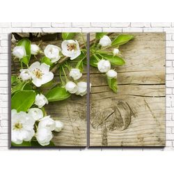 Модульная картина Веточка яблони 80х60 см