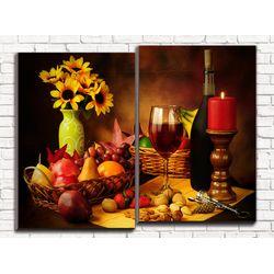 Модульная картина Винный натюрморт 80х60 см