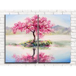Модульная картина Розовое дерево 80х60 см
