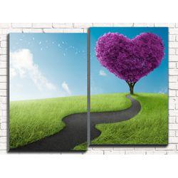 Модульная картина Дорога к сердцу 80х60 см