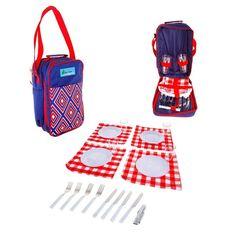"""Сумка-холодильник с набором для пикника """"Red & Blue"""", на 4 персоны"""