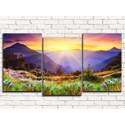Модульная картина Закат в горах 120х60 см