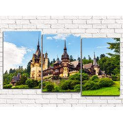 Модульная картина Замок в Румынии 120х60 см 3 модуля