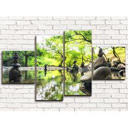 Модульная картина Камни на воде 110х60 см