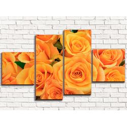 Модульная картина Оранжевые розы 110х60 см