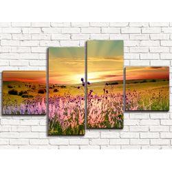 Модульная картина Цветы на закате 110х60 см
