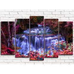 Модульная картина Водопад в лесу 125х80 см