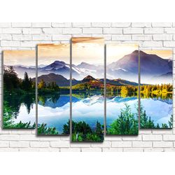 Модульная картина Волшебное озеро в горах 125х80 см 5 модулей